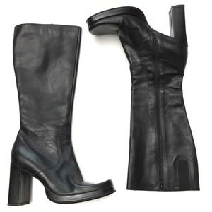 VTG 90s Leather Tall Square Toe Block Heel Boots